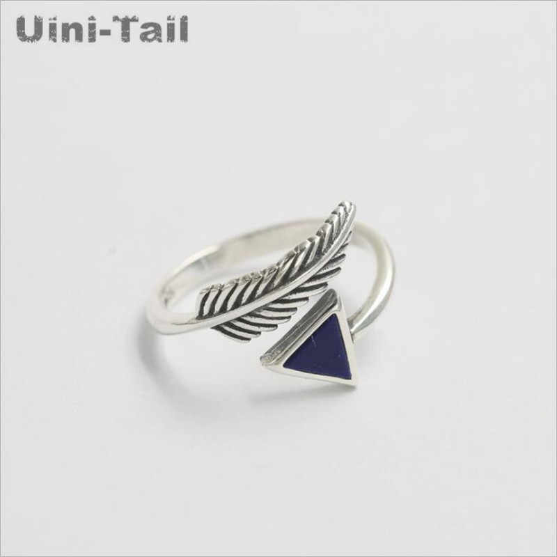925 sterling silver retro crystal triangle feather opening ring female Korean fashion flow high quality jewelry wholesale