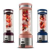 ZA08 pink rechargeable stainless steel juicer mini Portable USB electric juicer 2 layers glass waterproof orange juicer 280ml