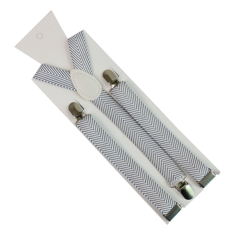 Fashion Black And White Striped Printing Suspender Adjustable Adult 3 Clip Y-Back Clip-on For Men Women Breces For Suspenders Gi
