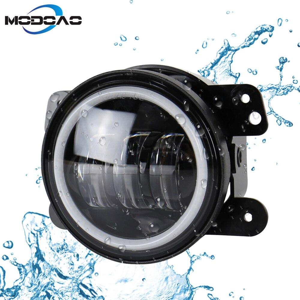 Modoao 2 pcs LED Véhicule Brouillard Lampes 30 w 4 pouce SUV Brouillard Lumières Ange Yeux LED Camion Brouillard Lumières 6000 k Imperméable Lumières
