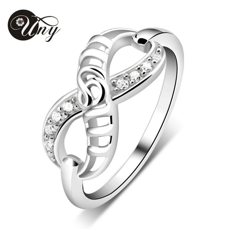 UNY Ring 925 Silver Customized Engrave Rings Family Heirloom Infinity Ring MOM Birthstone Personalized Valentine Love Gift Rings