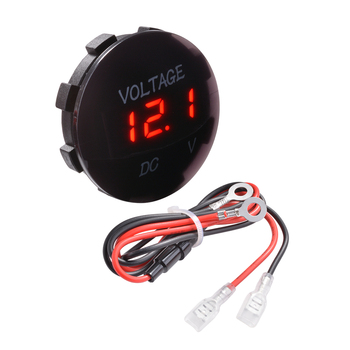 防水電圧計LEDデジタルディスプレイ電圧ボルトメーターパネルゲージwケーブルDC 12 v-24 v車オートバイHT1308ゲージ