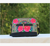 New Fashion Embroidery Women Shopping Handbags Hot Floral Embroidered All Match Shoulder Crossbody Bag Vintage Canvas