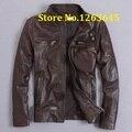 Brown And Black Hot Genuine Leather Jacket Men Slim Fashion Natural Sheepskin Motor Jacket US DHL Free Shipping 2016 New Arrival