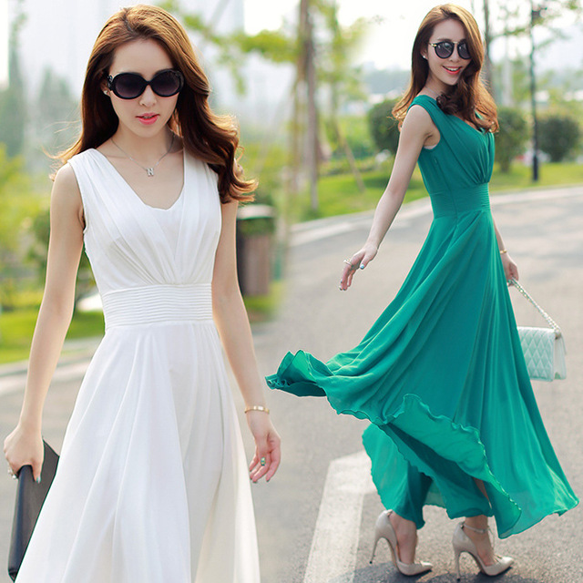 Summer New Women S Beach Maxi Dress Korean Slim Temperament Chiffon