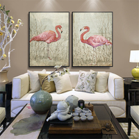 HAOCHU Frameless Picture Retro Animal Flamingo Pink Feather Oil Canvas Painting Nordic Decoration Wall Poster For