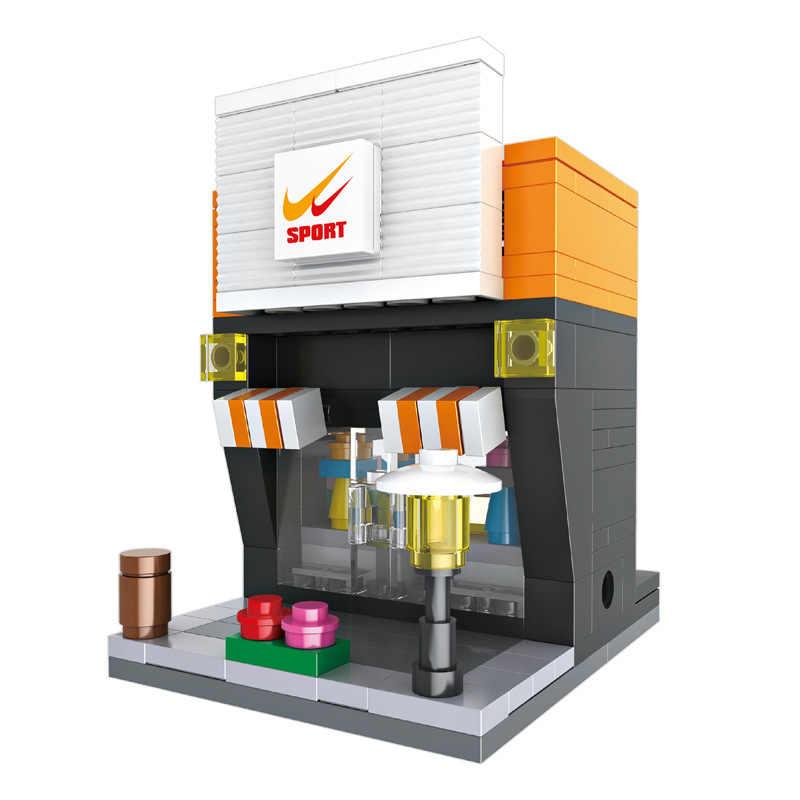 3D Мини город улица розничный магазин McDonald кафе Apple мини магазин Обучающие Legoings блоки игрушки для детей подарок