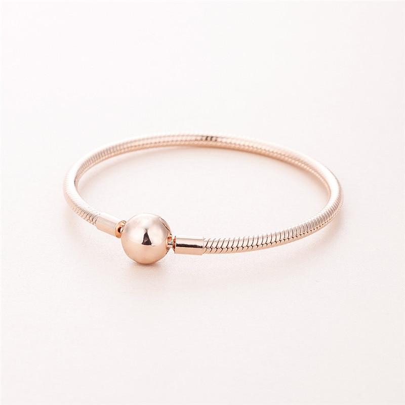 Moments lisse Bracelets pour femme & hommes Rose couleur dorée serpent chaîne perlée Bracelets boule ronde fermoir bricolage femmes Bracelets nouveau