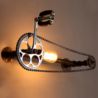 loft vintage water pipe wall lamp,restaurant bar cafe pub bedroom room stair villa E27 Edison gear chain wall sconce lw58406py