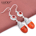 Top-Sales Vintage jewelry Synthetic Amber dangle earring nice gift for mother Best Gift Free Shipping E0056