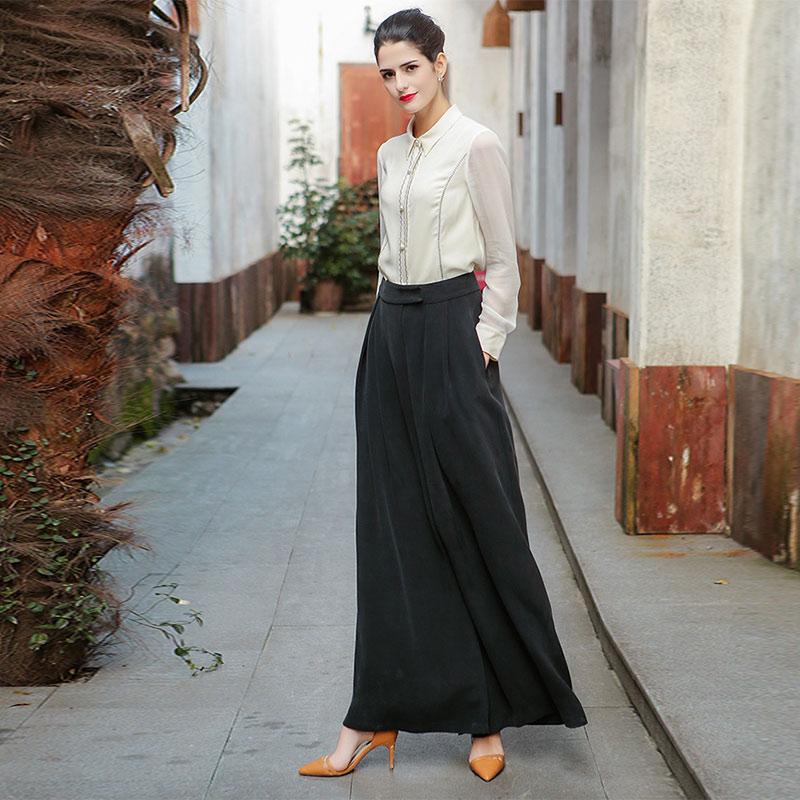 Femme En shirt À Formelle Longues Mode Grande T Voa Chemisier Haut Soie B7556 Blanc De Bureau Manches D'affaires Perles Automne Pour Taille Vêtements qzxE78