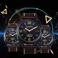 Parnis 47mm watch men's automatic stainless steel case leather strap movement waterproof P75 1
