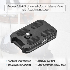 "Image 2 - Andoer QR 60 퀵 릴리스 플레이트 1/4 ""스크류 마운트 (캐논 니콘 소니 dslr 용 arca swiss 볼 헤드 삼각대 용 부착 루프 포함)"