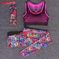 UMLIFE 2017 Новый Женский Отпечатано Yoga Set Красочные Yoga Брюки Нажмите до Yoga Бюстгальтер Женщины Из Трех Частей набора Фитнес Бег Спортивная Одежда