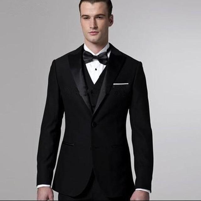 3 Pieces Black Suit Latest Coat Pant Designs Men New Arrival Slim Fit Wedding Dress