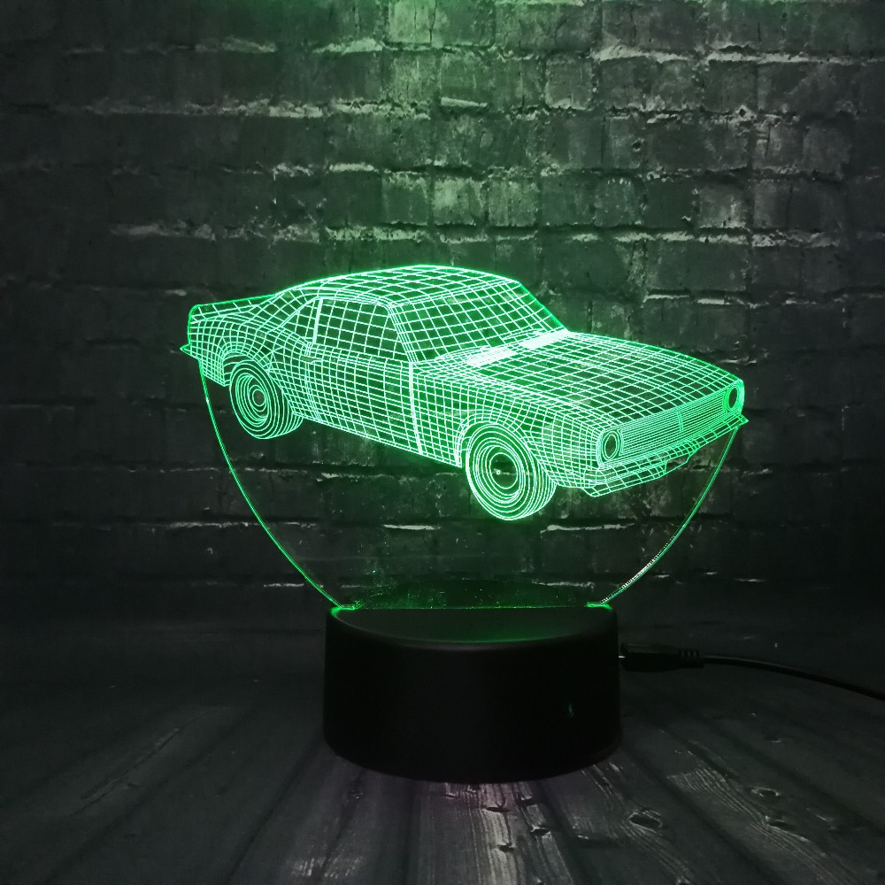 Hot SALE Cuba Retro Animation Cool Car 3D USB LED Lamp Car-Styling - Night Lights - Photo 2