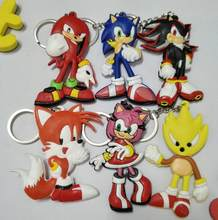 Sonic the Hedgehog PVC Parts & Accessories pendant ornament decoration unisex bag chain pendants key chain key chains(China)