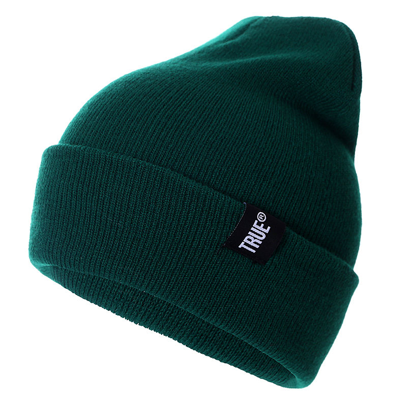 Letter True 10 Colors Casual Beanies for Men Women Fashion Knitted Winter Hat Solid Hip-hop Skullies Hat Bonnet Unisex Cap(China)