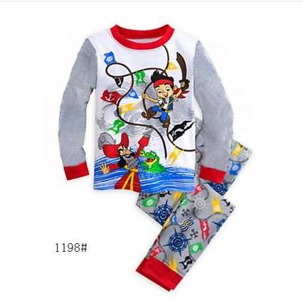 цена на Children Pajamas Boy's Cotton Nightwear Jake And The Neverland Pirates Cartoon Loungewear Kids Boys Homewear Autumn Sleepwear