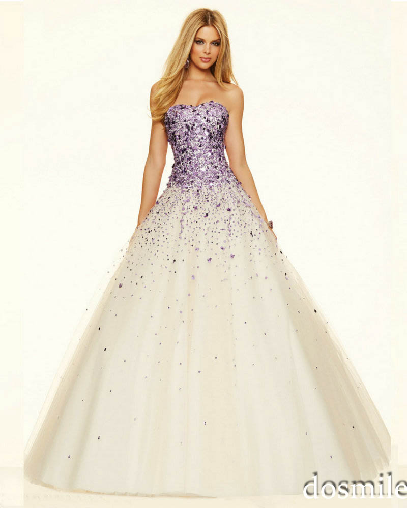 2016 Brilliant Gold Purple Sequins evening gowns Long Beautiful ...