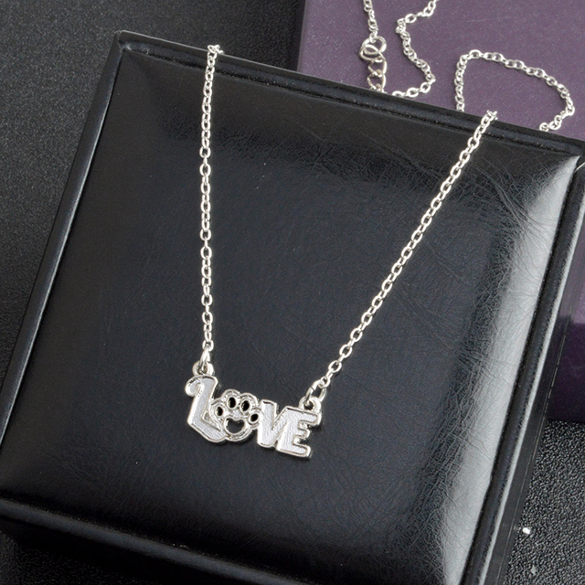 I Love Kitten Paw Necklace Gold Silver