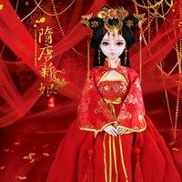 Ручная работа Bjd 1/3 куклы 60 см китайский древний костюм невесты 23 шарнирная кукла красная одежда для девочек куклы подарки свадебный подарок