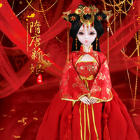 Handmade Bjd 1/3 Dolls 60cm Chinese Ancient Costume Brides 23 Jointed Doll Red Clothes Girls Doll Gifts Wedding Present