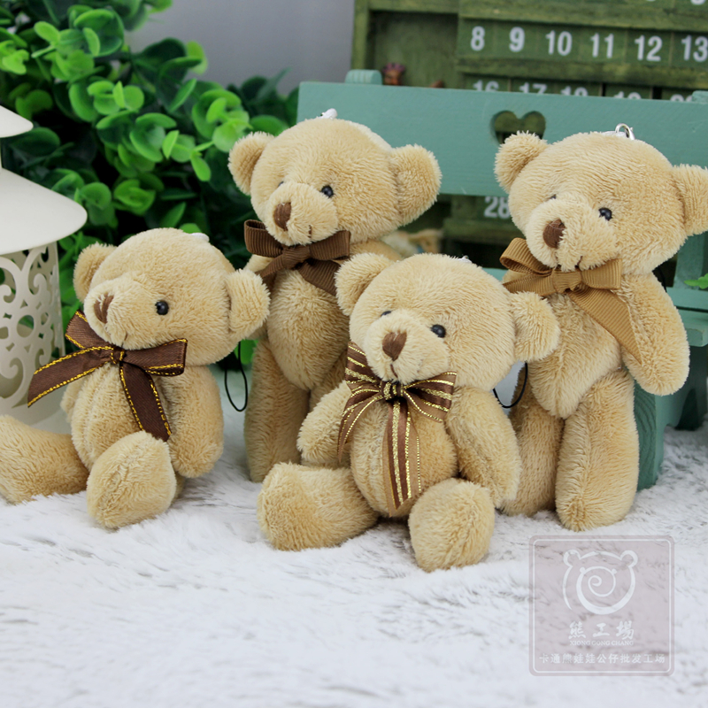 Hot Sale 12 Pcs/lot Bow Tie 13 Cm Mini Bear Dolls Plush Stuffed Toys,Girls Birthday Gift Small Pendant,Stuffed Plush Animals