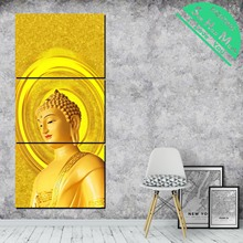 3 Pieces Golden Shinning Buddha Tradition HD Printed Canvas Painting Pictures for Home Decoration Wall Art Living Room Poster