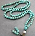 8 мм круглый бирюзовый буддийский будда медитация 108 бусины молитва бусины мала браслет / ожерелье