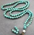 8 mm ronda turquesa budista buda meditación 108 grano oración del grano Mala pulsera / collar
