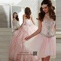 Vestido de Baile barato 2 Peça Vestidos Quinceanera Rosa 2017 Vestidos de 15 años Debutante Vestidos Cristais Sweet 15 Vestidos Plissados