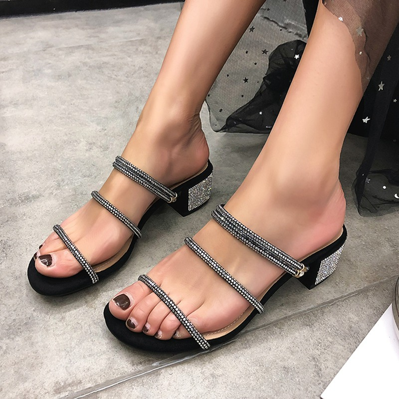 Girseaby Shoes women ladies Square heel Kid suede Slip on Crystal Rhinestone Black Nude Sandals Summer Sapato Feminino E153 - 5