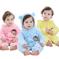 Newborn Rompers High Quality Baby Boys Girls Clothes Kids Cotton Animal Jumpsuit Coral Fleece Long Sleeves