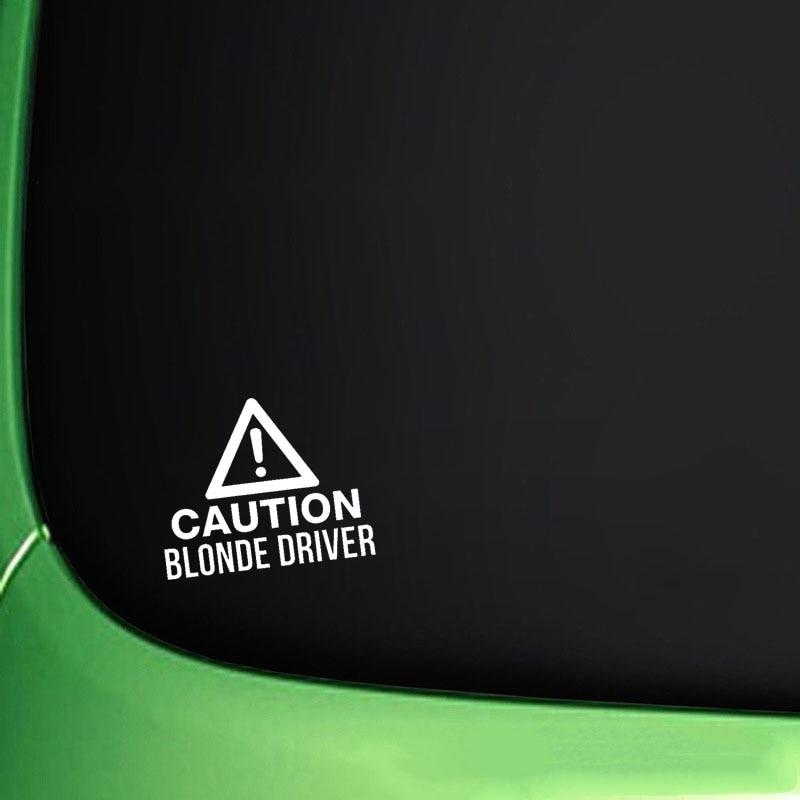QYPF 16CM*13CM CAUTION BLONDE DRIVER Funny Vinyl Car Sticker Black Silver Decals C15-2809