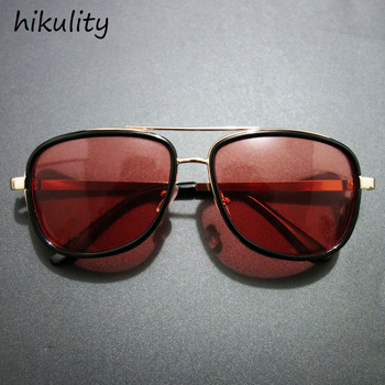 89259 Iron Man 3 Tony Stark Sunglasses for Men Super Hero Gothic Glasses Male Steampunk Goggles Sun Glasses Red Sunglasses Men