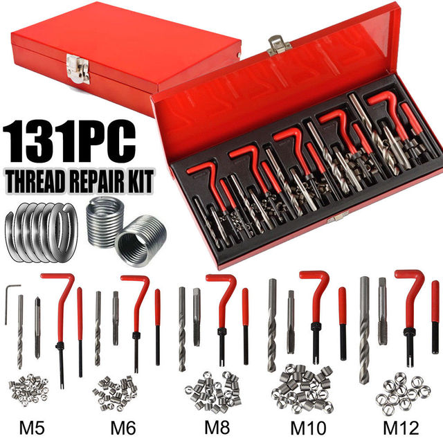 131 Pcs Engine Block Restoring Damaged Thread Repair Tool Kit M5 M6 M8 M10 M12 Professional SK1008