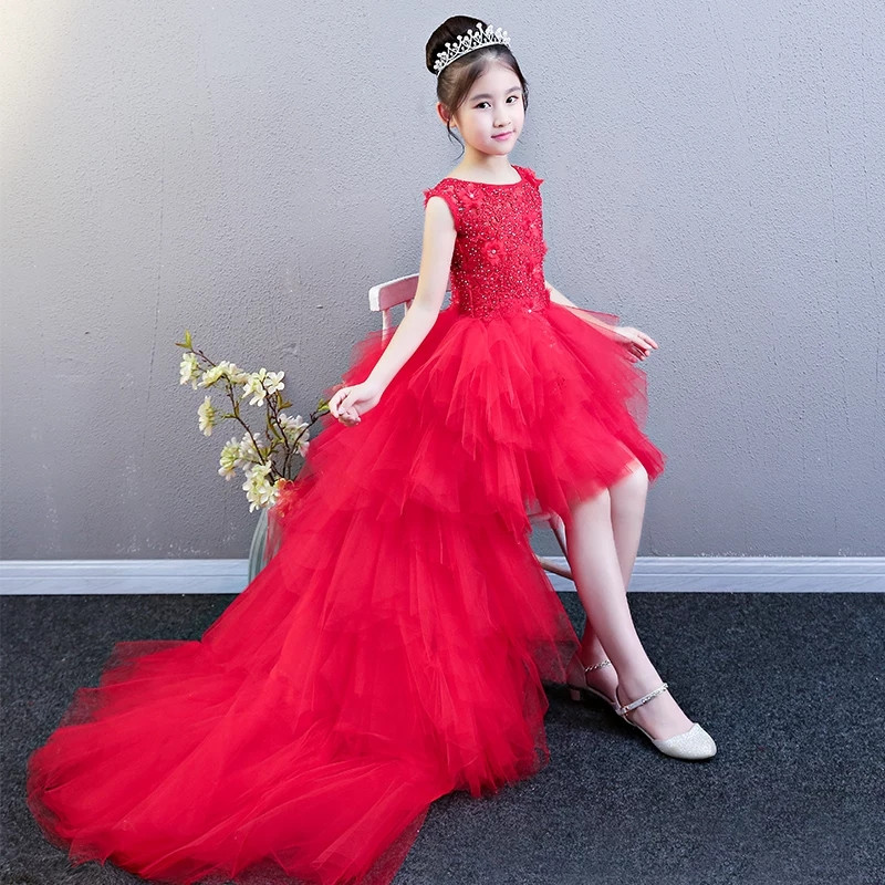 все цены на Children Girls Elegant Red Color Birthday Wedding Party Long Long Tail Princess Lace Prom Dress Summer New Baby Model Show Dress онлайн