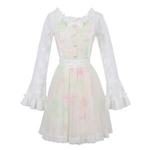 Image 5 - נסיכה מתוקה לוליטה שמלת ממתקי גשם סתיו חדש מתוק חלול החוצה הדפסת נסיכה ארוך שרוול תחרה שמלת C16CD6146