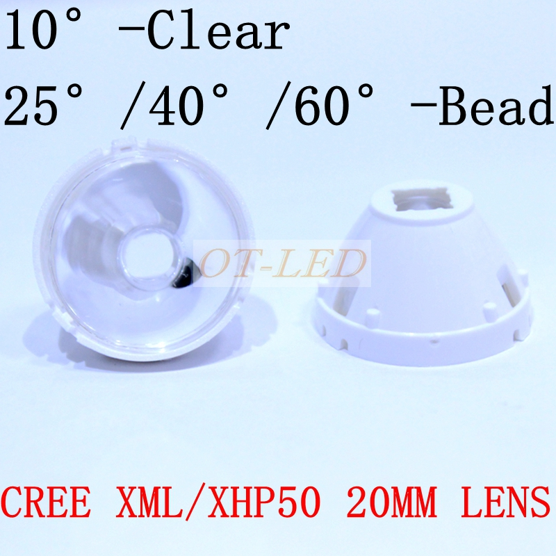 1pcs CREE XML LED XML2 LED XHP50 LED Lens 20mm white holder 10/25/45/60 degree LED LENS/Reflector Collimator sitemap 25 xml