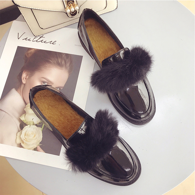 Preppy borla Bowtied Negro Invierno De Espana 3 Mujer Oxford Chica Estilo Caliente Juguete Chaussure Pisos de Holgazán Zapatos Peluche Derby qFwwEP5