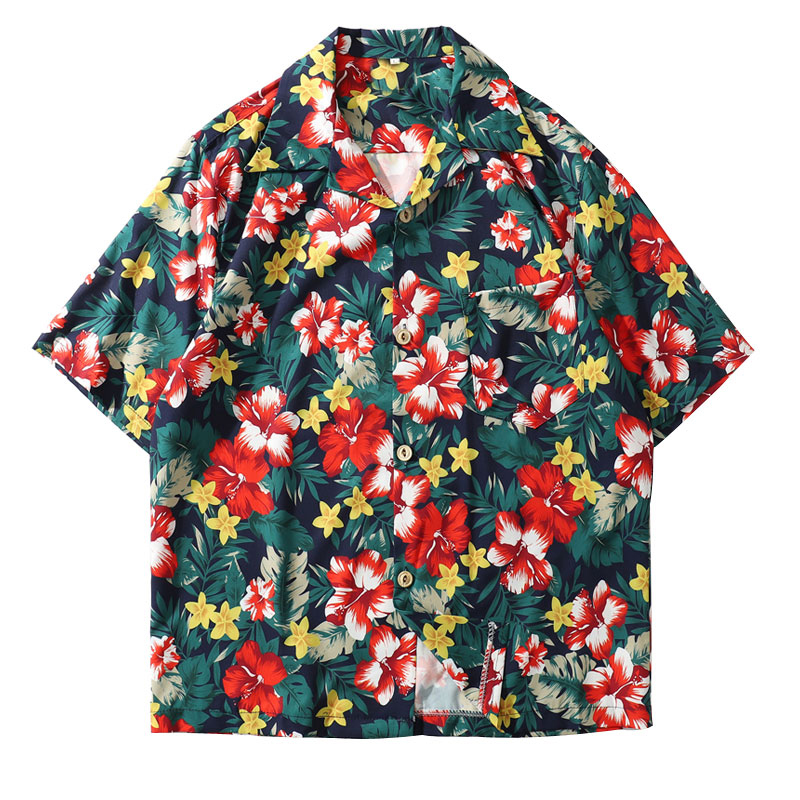 Floral Casual Print Hawaiian Beach Aloha Shirts Mens Fashion Short Sleeve Tops Shirt 2019 Male Summer Hawaii Shirts image