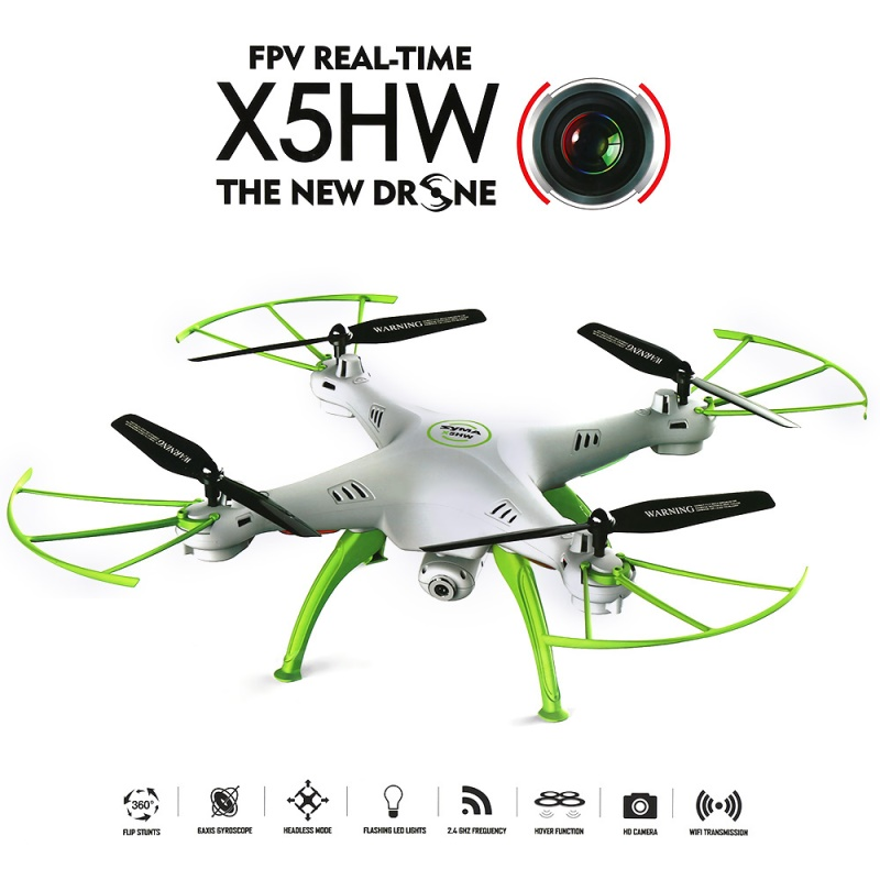 SYMA X5HW FPV RC Quadcopter Drone with 0.3MP Camera 4CH Gyro 2.4GHz 6-Axis RC Helicopter jxd 510g 5 8g fpv 2 0mp camera 2 4ghz 4ch 6 axis gyro rc quadcopter with camera