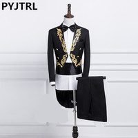 PYJTRL New Male Gold Silver Embroidery Lapel Tail Coat Stage Singer Groom Black White Wedding Tuxedos For Men Costume Homme