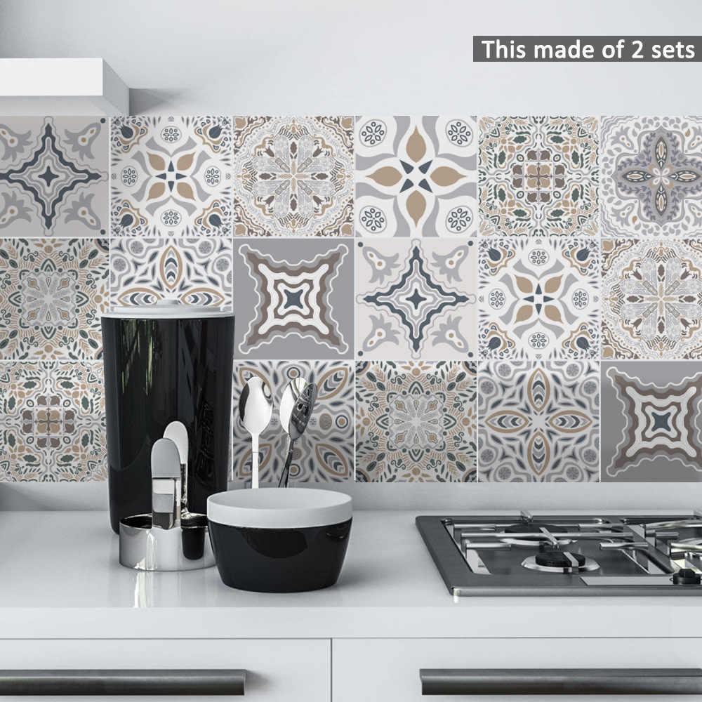 10 ピース セット黒 白モロッコ自己粘着タイル壁の壁紙オイル防水