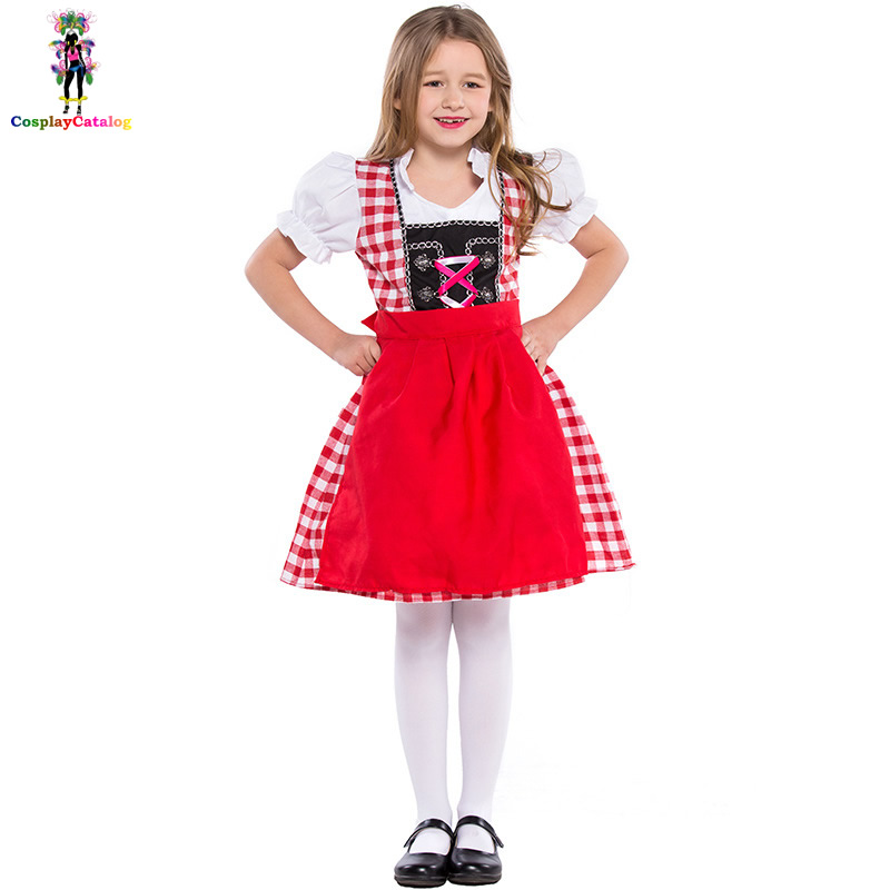 2018 Girl Bavarian Oktoberfest Costume Kids Germany Beer Costumes Children Waiter Uniforms Party Maid Clothes High 105-150 cm