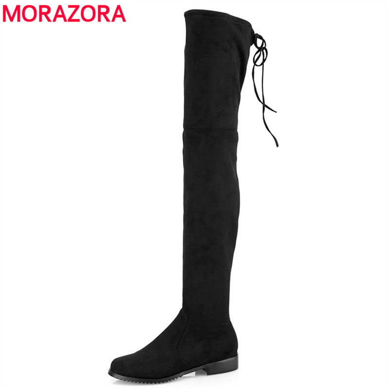 MORAZORA 2018 New Women Boots Stretch Faux Suede Over the Knee Boots Flat Thigh High Boots Ladies Long autumn winter shoes gray