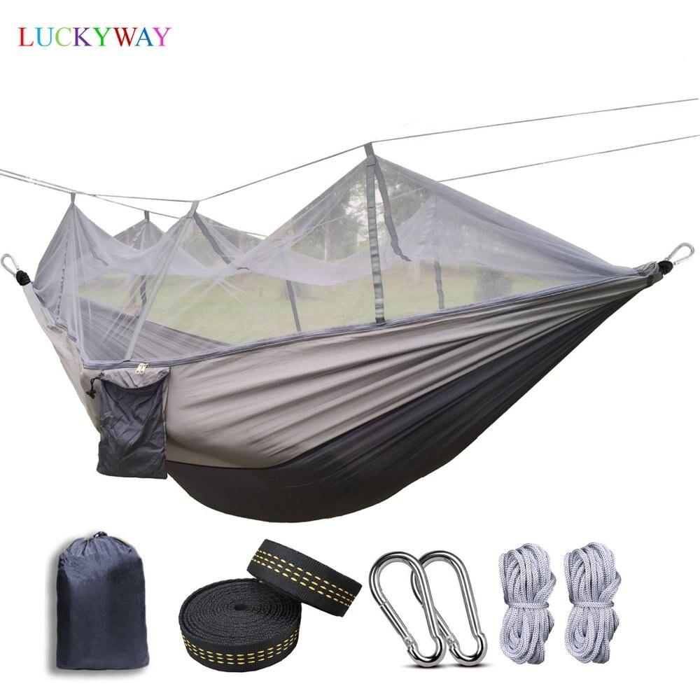 Livraison directe 1-2 personne moustiquaire extérieure Parachute Hamac Camping suspendu lit de couchage balançoire Portable Double chaise Hamac
