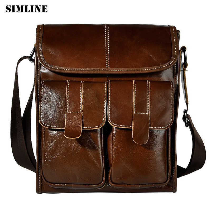 SIMLINE Brand Vintage Fashion Casual Genuine Cow Leather Cowhide Men Men's Handbag Messenger Shoulder Crossbody Bag Bags For Man simline 2017 vintage genuine crazy horse leather cowhide men men s messenger bag small shoulder crossbody bags handbags for man