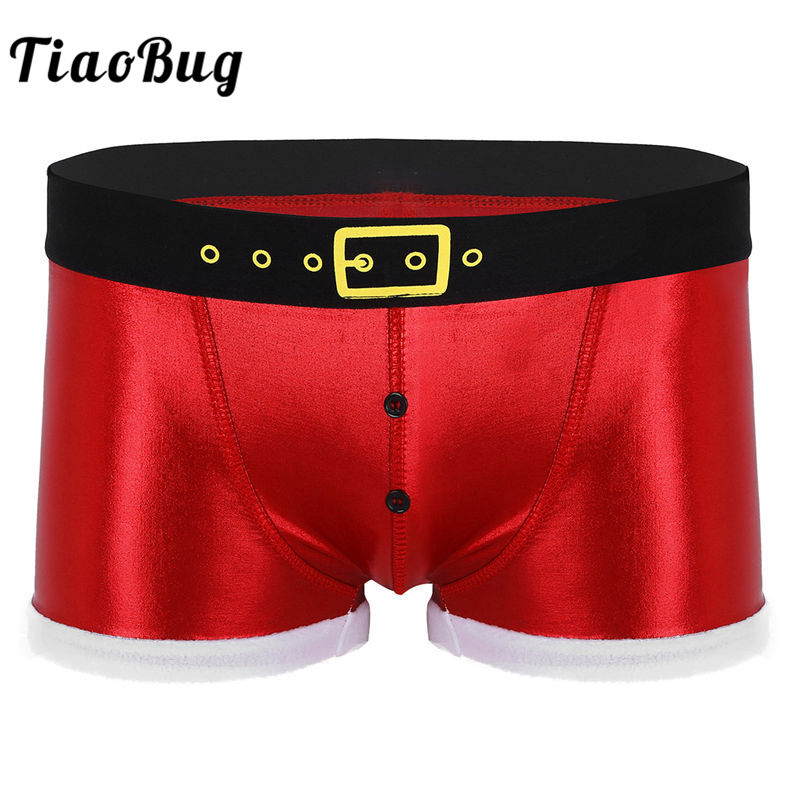 TiaoBug Men Faux Leather Printed Belt Pattern Red Christmas Costume Holiday Santa Claus Fancy Underwear Sexy Male Boxer Shorts zebra underwear